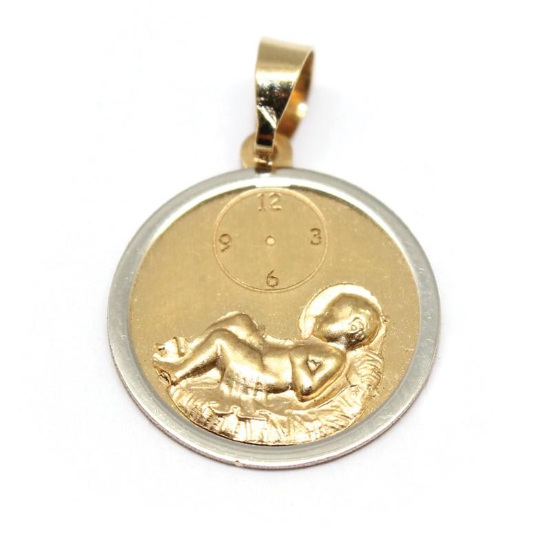 afabfbc03638 Medalla de bebe en oro amarillo de 18 Kts y un cerco en oro blanco alrededor