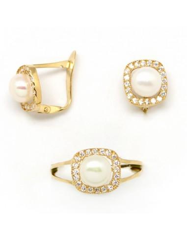 475274378181 Conjunto de pendientes y sortija para niña de comunión en oro amarillo con  perlas y circonitas
