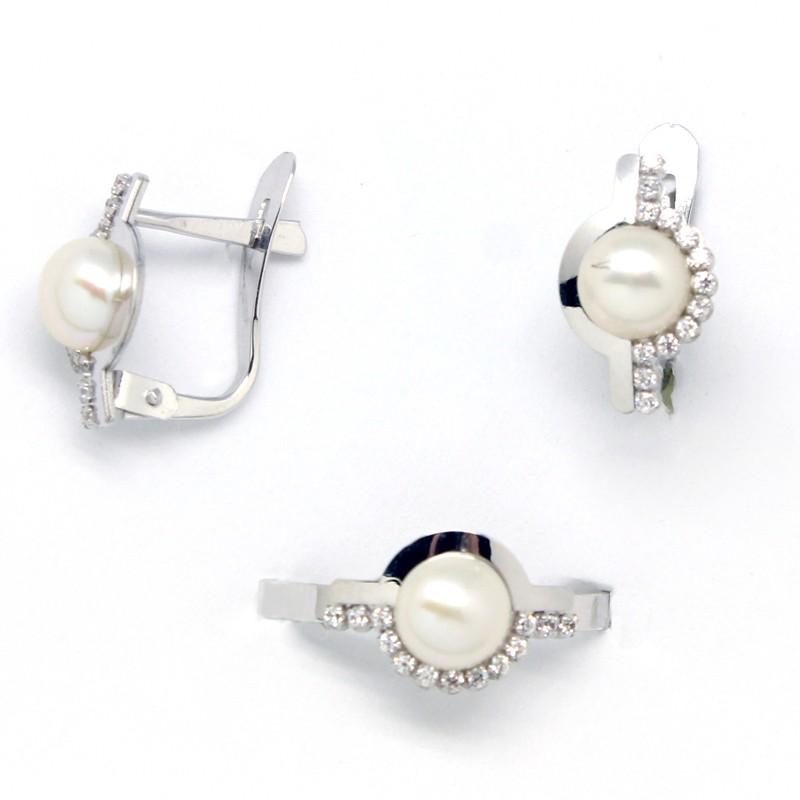 Conjunto de pendientes y sortija para niña de comunión en oro blanco con perlas y circonitas