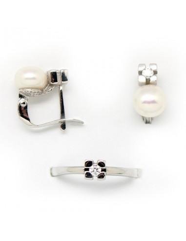 ebdd243f8c17 Conjunto de pendientes y anillo para niña de comunión en forma de