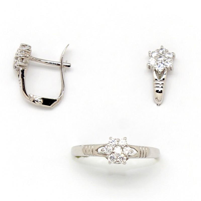 56db13939b0d Conjunto de pendientes y anillo para niña de comunión en oro blanco con  roseta de circonitas