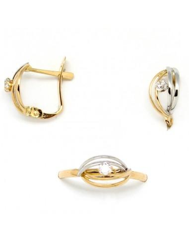 19906432ad0f Conjunto de pendientes y anillo para niña de comunión combinando oro blanco  y oro amarillo con