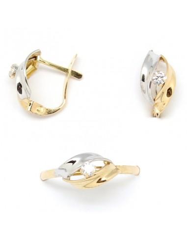 383d87c2bb9d Juego de pendientes y anillo para niña de comunión, combinando oro blanco  con oro amarillo y una circonita central. - Joyería y Relojería Angel ...