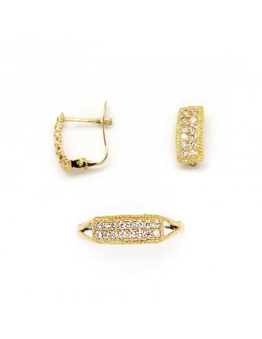 c57a7e537ee7 Conjunto de pendientes y anillo para niña de comunión en oro amarillo y  circonitas.