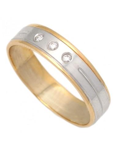 9f5daf9e3eab Nuevo Alianza combinada en oro amarillo y oro blanco con tres diamantes.