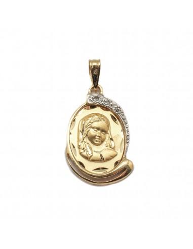 2d6c7eafeb52 Medalla de la Virgen Niña para comunión en oro de 18 Kts. que combina oro