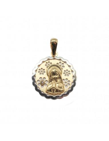 05aaf6957c92 Medalla para comunión de la Virgen Niña que combina oro amarillo y oro  blanco de 18