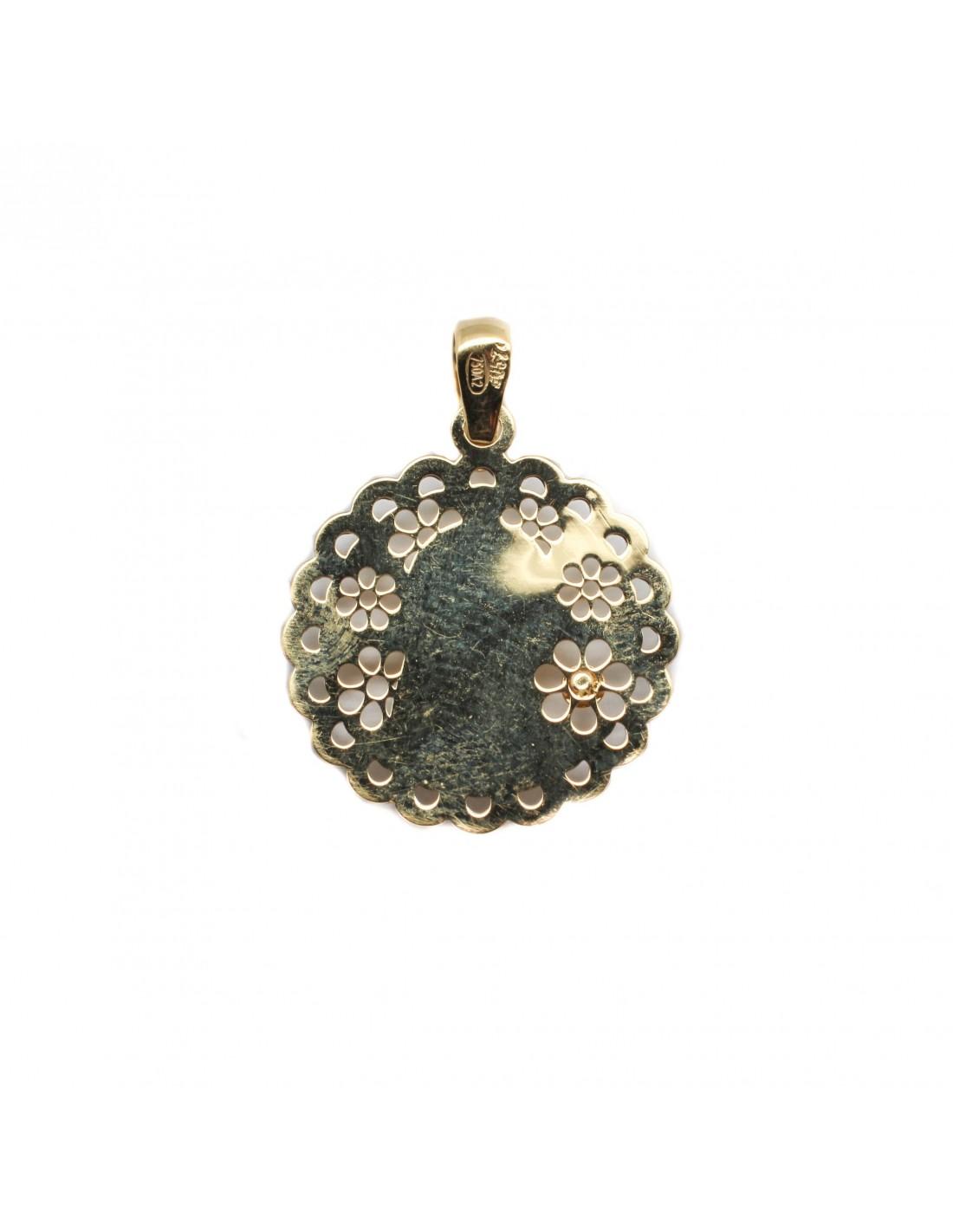 bd16467a4740 ... Medalla para comunión de la Virgen Niña que combina oro amarillo y oro  blanco de 18 ...