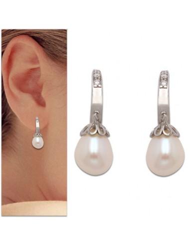24a9cd17e96e ... joyería Pendientes de oro blanco colgantes con perla. Nuevo Pendientes  de oro blanco colgantes con perla