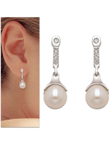 0beaceb23fea Pendientes colgantes en oro blanco y perla natural. - Joyería y ...