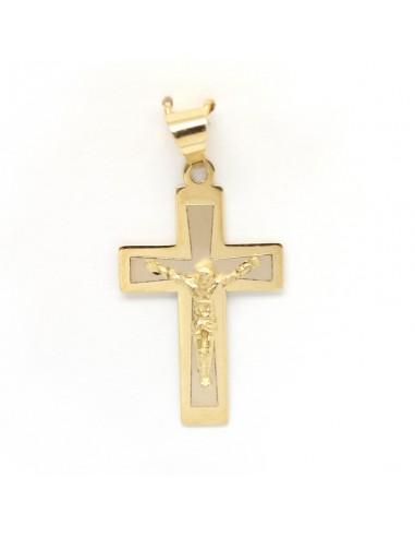 Cruz bicolor con cristo en oro de 18 Kts, acabado mate - brillo y reasa triangular.