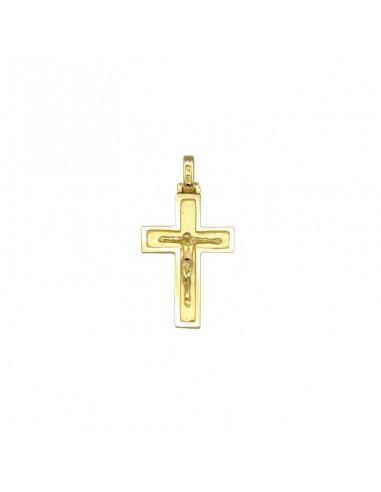 Cruz con cristo en oro de 18 Kts, que combina el acabado mate y brillo.