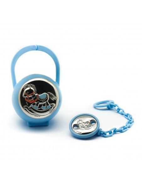 Porta chupete azul con caballo en plata