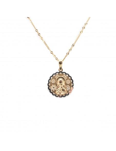 Medalla para comunión de la Virgen Niña que combina oro amarillo y oro blanco de 18 Kts.