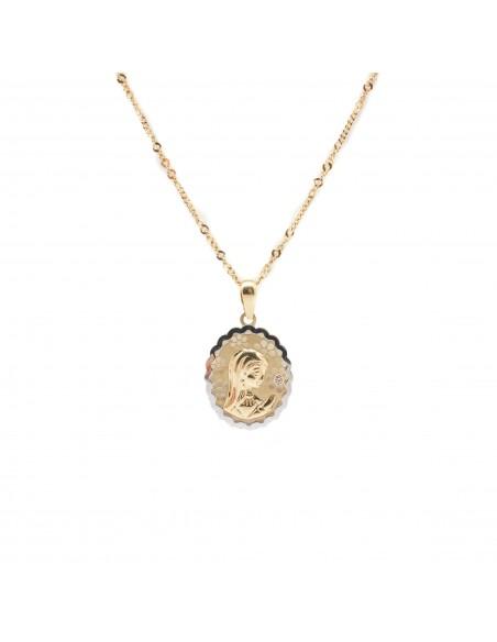 Medalla de la Virgen Niña para comunión realizada en oro blanco y amarillo de 18 Kts.