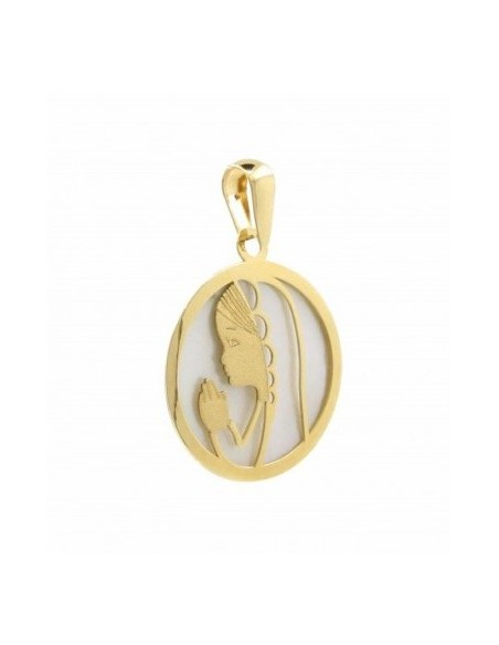 Medalla redonda para niña de comunión en oro amarillo de 18kts
