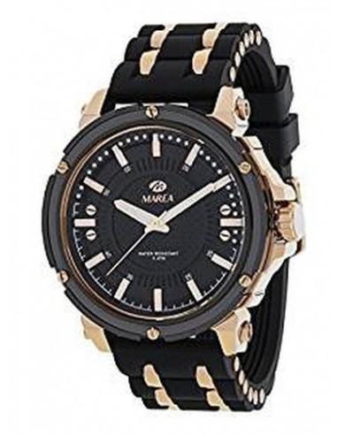 Reloj analógico para caballero con correa de caucho negro y aluminio cromado de la marca Marea