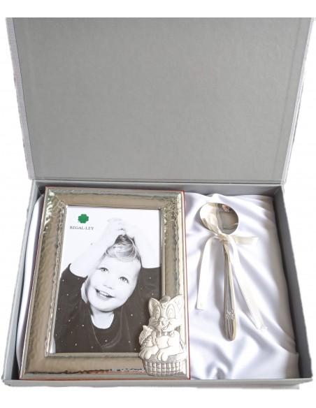 Marco de fotos de plata y cuchara papillera